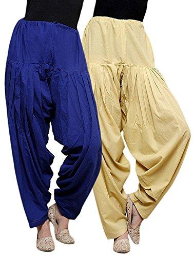 ChanchalTraditional Patiala Salwar 100% Cotton Free Size (BLUE_BEIGE)