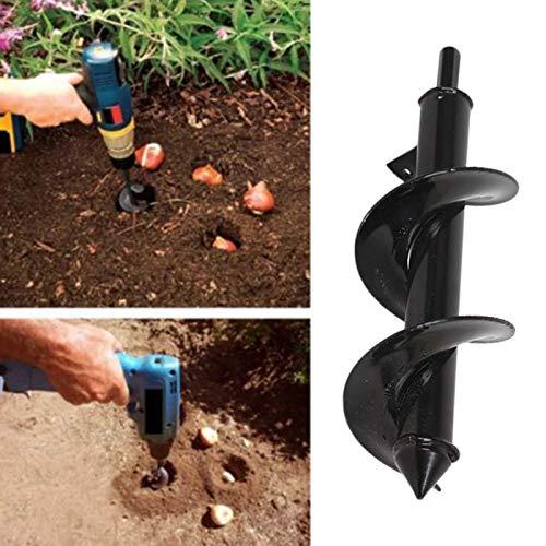 wqeew Foret hélicoïdal pour Jardinage, Bricolage, tarière de Jardin, Accessoires pour Planter des bulbes de literie, semis, 25 cm