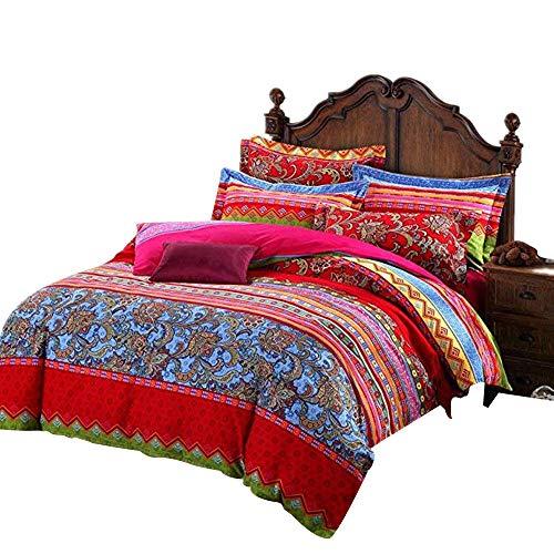 Ustide Heimtextilien 3-teiliges Marken-Set Bettwäsche mit Deckenbezug in buntem Boho-Stil zu 100 % aus hochwertiger Baumwolle, baumwolle, Color 9, Einzelbett (Marken-bettwäsche-set)