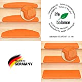 Kettelservice-Metzker® Stufenmatten Vorwerk Uni Einzeln und Sparset's Terra/Orange 15 Stück Rechteckig