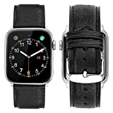 iBazal Compatible avec Apple Watch Series 4 Bracelet 40mm Cuir, iWatch Bracelet Apple Watch 38mm Véritable Cuir pour 38mm/40mm Apple Watch Series 4/Series 3/Series 2/Series 1 - Charme Noir 38mm