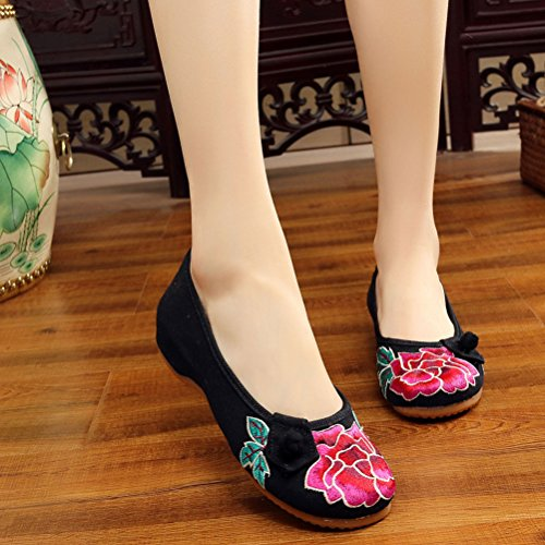Zhuhaitf Haute qualité Womens Traditional Ethnic Style Embroidered Shoes Durable Cloth Shoes Black