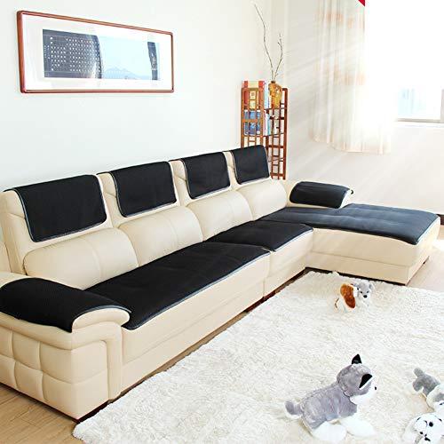 Schwarze Leder Schnitt Couch (HYXL Anti-rutsch Leder Sofabezug Schnitt Slipcover Couch Handtuch Wasserdicht Gesteppter Möbel Protector Slipcover Für Hunde-schwarz 50x150cm(20x59inch))