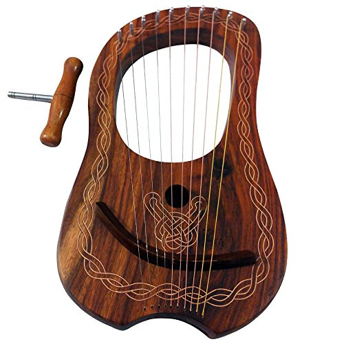lyre-harp-10-metal-strings-rosewood-lyra-harp-rosewood-10-strings-free-case