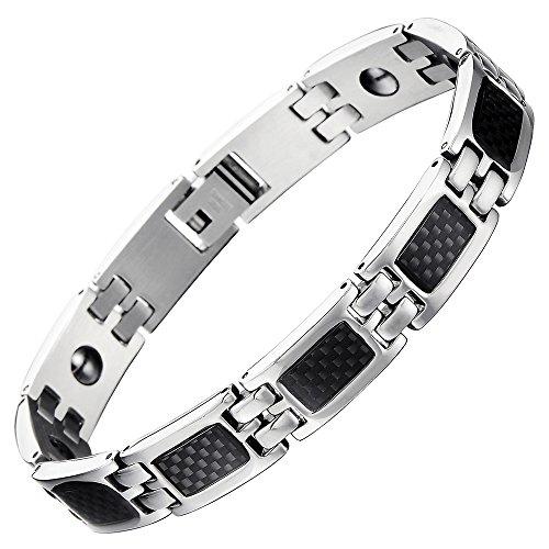 COOLSTEELANDBEYOND Klassischen Edelstahl Magnetisch Energie Armband Herren mit Eingelegten Kohlefaser, Link-Tool zum Entfernen Enthalten - Energie-pakete