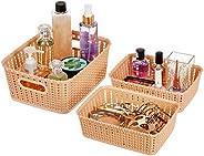 Amazon Brand - Solimo 3 Piece Storage Basket Set, Beige