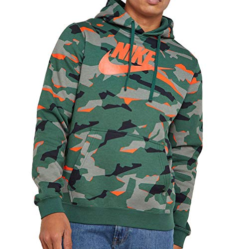 Nike Herren M NSW Club CAMO Hoodie PO BBGX Sweatshirt, Fir/Team Orange, M Camo Sweatshirt