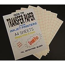 Inyección De Tinta Para Imprimir Hierro En La Camiseta Y Tela Papel De Transferencia Para Telas Ligeras 20 A4 Láminas