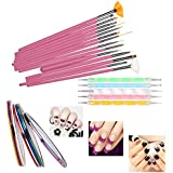 Sgm Nail Art Paint Kit , 15 Pieces Nail Art Paint Brushes With 5 Pieces 2 Way Marbleizing Dotting Pen And 5 Pieces Assorted Colors Nail Striping Tape