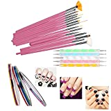 #3: Sgm Nail Art Paint Kit , 15 Pieces Nail Art Paint Brushes With 5 Pieces 2 Way Marbleizing Dotting Pen And 5 Pieces Assorted Colors Nail Striping Tape