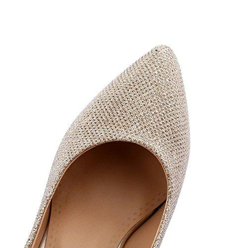 VogueZone009 Femme Couleur Unie Suédé Stylet Pointu Tire Chaussures Légeres Doré