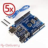 AZDelivery UNO R3 mit USB-Kabel, 100% kompatibel mit Arduino mit gratis eBook! (5x UNO R3)
