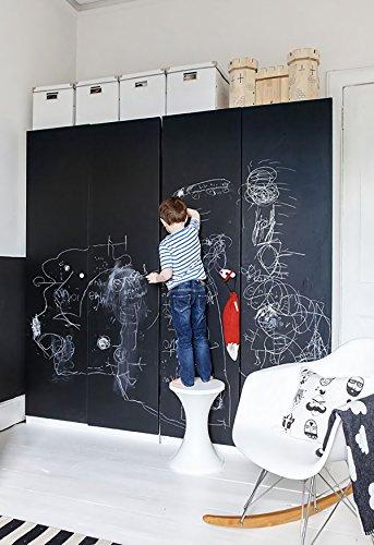 Tafelfolie Selbstklebende Folie Kreidetafel Tafel Aufkleber Blackboard Sticker Wandfolie für Kühlschrank Kleiderschrank Kinder Schul Weihnachten Folie mit 5 Kreiden DIY Grob Schwarz 44.5 x 200 cm