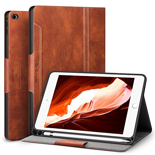Antbox Hülle für iPad Mini 5 2019 7.9 Zoll/iPad Mini 4 mit Apple Pencil Halter Auto Schlaf/Wach Funktion PU Ledertasche Schutzhülle Smart Cover mit Stand Funktion (Braun)