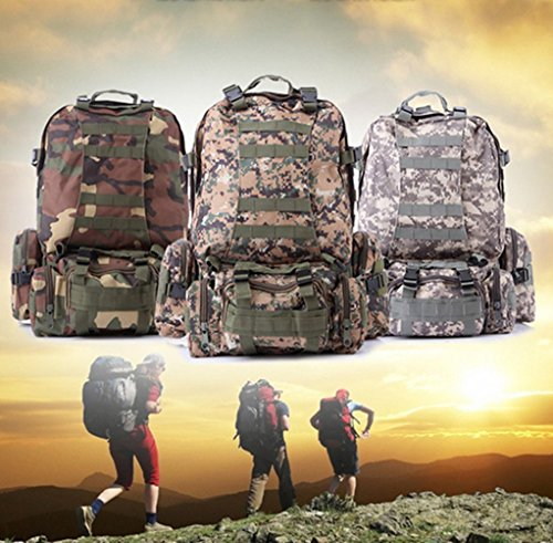 , großes Fassungsvermögen Mehrzweck verstellbaren Tactical Rucksack Herren Damen Multifunktions-Kombination Paket Outdoor Klettern Camping Wandern Trekking Tasche - Jungle camouflage