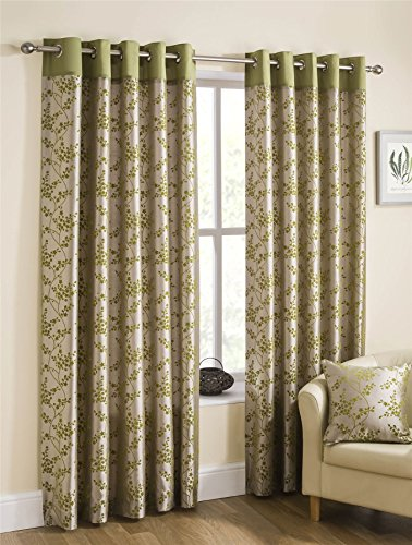Homescapes Lime Green Beige Luxury Faux Silk Eyelet Ring Top Lined Curtains Pair Width 90 x 54 Inch Drop Contemporary Flocked Flowers Design