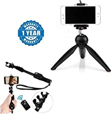 Drumstone 228 Mini Tripod Flexible Portable Stand with 1288 Sefie Monopod Stick with Bluetooth Remote Controller