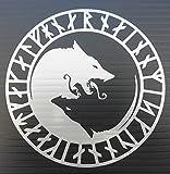 Yin Yang Lobo Runa Círculo de vinilo de la etiqueta engomada (plata)