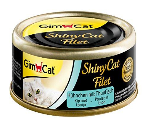 GimCat ShinyCat Filet – Katzenfutter mit 100{56bb4d96a07232639b13f27f24d26c2a89d479655de1c99427a1f86620d3ed9e} Filet für ausgewachsene Katzen – ohne Zuckerzusatz und glutenfrei – Hühnchen mit Thunfisch – 24 Dosen (24 x 70 g)