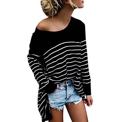 Asymmetrische Tunika (Petalum Damen Shirt Herbst Elegant Casual Übergroß Rundhals Streifen Langarm Asymmetrisch Lang Tunika Top Shirt Streetwear Sweatshirt)