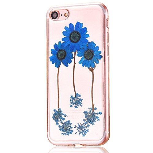 """iPhone 7 Schutzhülle, iPhone 7 Soft TPU Handytasche, CLTPY Modisch Durchsichtige Rückschale im Getrocknete Blumenart, [Stoßdämpfung] & [Kratzfeste] Full Body Case für 4.7"""" Apple iPhone 7 + 1 Stylus -  Floral 17"""