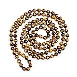 CHARLOTTE Collar Largo con Cuentas de Ojo de Tigre Natural Piedra joyería para Las Mujeres Hombres Oro Wrap Pulsera