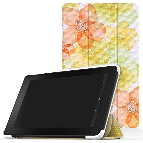 MoKo Fire 2015 7 Zoll Hülle - Ultra Slim Lightweight Schutzhülle Smart Cover Case mit Standfunktion für Amazon Fire Tablet (Vorherige 5th Generationeration - 2015 Modell) Tablet, Blumen Grün