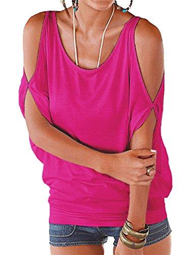 YOINS Bluse Damen Kurzarm Schulterfrei Oberteil Tops Damen Sommer Carmen Shirt Rundhals Einfarbig Lilarot EU36-38