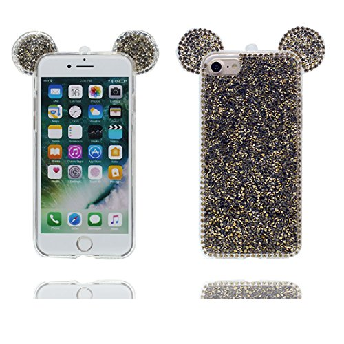 "Hülle iPhone 6 6s Cover 3D Cartoon Maus Ohr, Light Slim Diamonds Bling Bead Transparent iPhone 6 Handyhülle 4.7"", iPhone 6S case 4.7"" Kratzer beständig # 2"