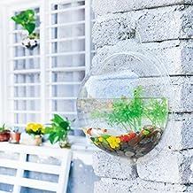 CA Wall Mount Aquarium Flower Plant Vase Fish Bowl Tank Home Decoration Transparent Base (29.5*10cm, Water capacity: 5L)