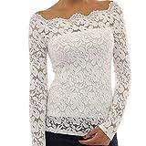 QBQ Damen Langarmshirt Tops Floraler Spitze Weg von der Schulter Oben Bluse (Weiß, S: UK8-10 / EU36-38: Fehlschlag: 33-35 '')