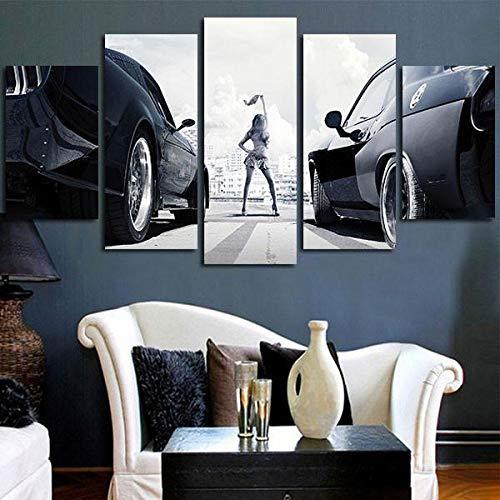 lcyab Leinwanddrucke Hd Gedruckt 5 Stück Leinwand Kunstdruck Malerei Fast & Furious Racing Cars Wandkunst Leinwand Wanddekor Bilder