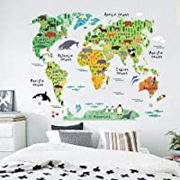 Animals World Map Vinyl Mural Wall Sticker Decals for Kids Children Room Decor