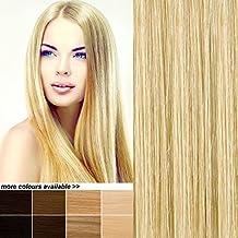 THE POSH HAIR. TIENDA de extensiones de cabello. Extensiones de clip para toda la cabeza REMY de cabello humano. VENDEDOR DEL REINO UNIDO. Muchos COLORES. (20 inch 18/613 MECHAS RUBIAS). 8 unidades SALÓN PROFESIONAL.