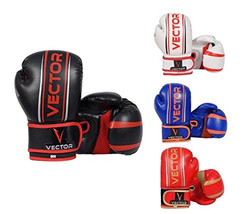 Kinder-Boxhandschuhe von Vector Sports aus Maya-Leder, handgefertigt, für Boxen, Kickboxen, MMA, Sparring, Training mit Boxsack, Gewicht: 113-170 g, rot, 4 oz