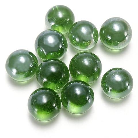 Dcolor 10pcs Bille Perle Ronde Verre Marbre jeux jouet Enfant Vase Aquarium Poisson decoration vert