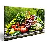 islandburner Bild Bilder auf Leinwand Korb mit Obst und Gemüse Poster, Leinwandbild, Wandbilder