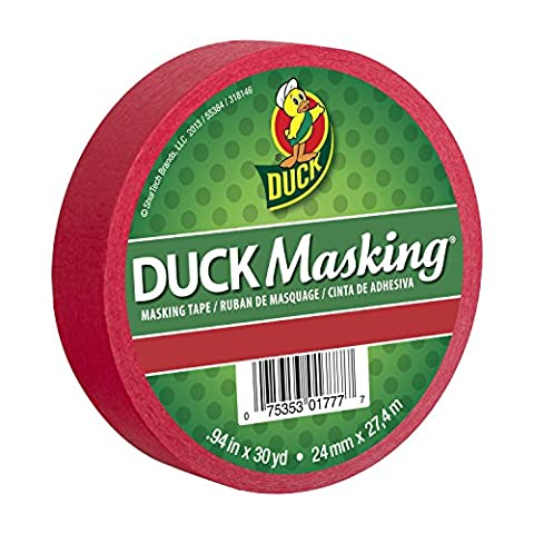 Duck Masking 240818 Red Color Masking Tape, .94-Inch by 30 Yards by Duck (30 Yd Masking Tape)