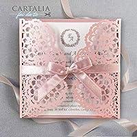 CAMPIONE Partecipazione matrimonio fai da te KIT elegante invito anniversario fidanzamento compleanno DIY rosa antico bianco taglio laser in stile florale con nastro