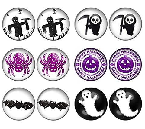 LilMents 6 Pairs Halloween Festive Mens Womens Stainless Steel Stud Earrings Set (Set B)