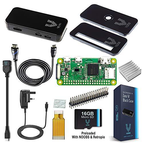 Vilros Raspberry Pi Zero W kit de démarrage Complet - Noir Coque Edition - Comprend Pi Zero L et 7Accessoires Essentiels