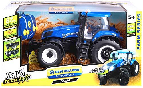 RC Auto kaufen Traktor Bild 6: Maisto Tech R/C New Holland Traktor T8.320: Ferngesteuerter Traktor mit Licht, Maßstab 1:16, mit Stick-Controller, ab 8 Jahren, 35 cm, blau (582026)*