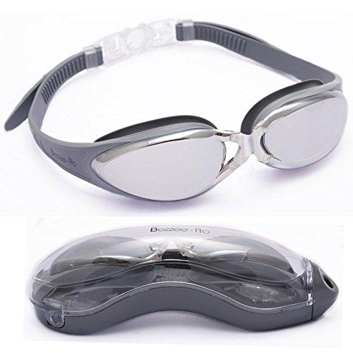 Bezzee-Pro Schwimmbrille - gespiegelte Gläser Schutzetui ?Wasserdicht - Anpassbar ? Schwimmbrille für Erwachsene Männer Frauen