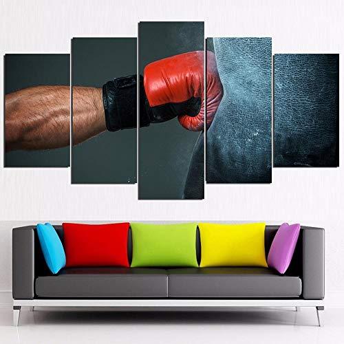 5 Impresiones sobre Lienzo HD Paneles de Pintura de Gran tamaño Pesado Bolsa de Guantes de Boxeo Cartel de la decoración del hogar