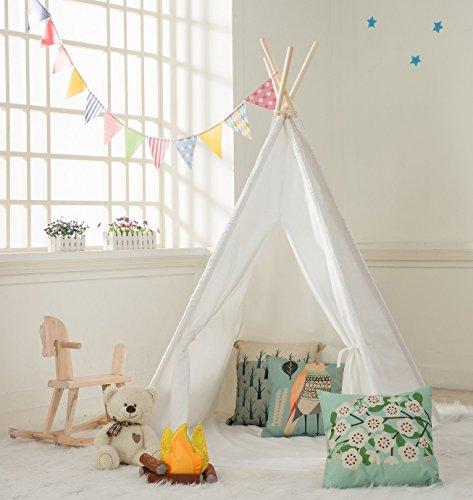 DeceStar Tienda de Teepee para Niños - 100% Natural Cotton Canvas Tienda de campaña Tienda Tipi  Para niños - Ven con colchón y bolsa de transporte