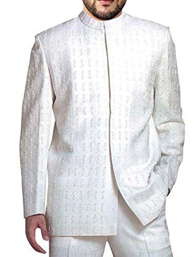 INMONARCH Mens Weiß 2 Pc Jodhpuri Anzug gestickt Nehru Kragen JO104S34 44 Kurze (Höhe 163 cm bis 170 cm) Weiß (Gestickte Voll Mens Hose)