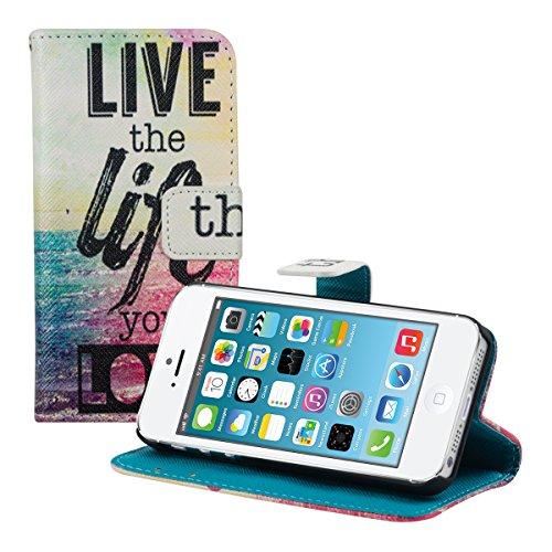kwmobile Wallet case Custodia a portafoglio per Apple iPhone SE / 5 / 5S - Custodia flip cover in Design Live the Life con scompartimento tessere e funzione supporto in multicolore fucsia blu
