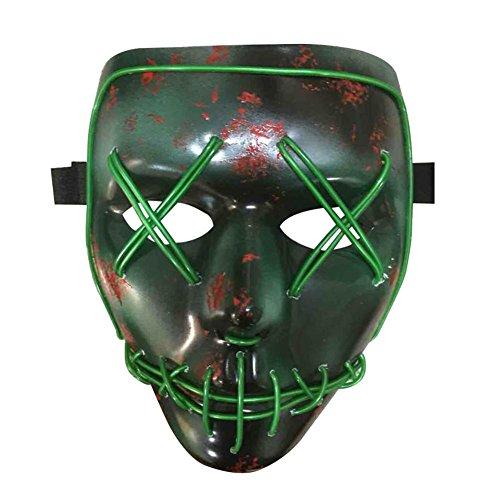 Warooms Halloween Kostüm Maske leuchtenden Schädel voller Gesichtsmaske -