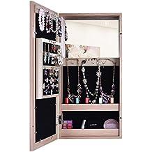 bxsg estilo sencillo armario para joyas con espejo y marco magntico marrn no
