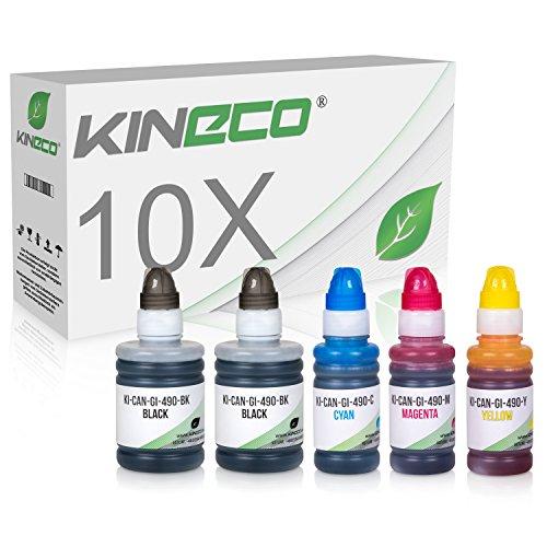 Preisvergleich Produktbild Kineco 10 Tintenbehälter kompatibel zu Canon GI-590 / GI-490 für Canon Pixma G1400 G1500 G2400 G2500 G3400 G3500
